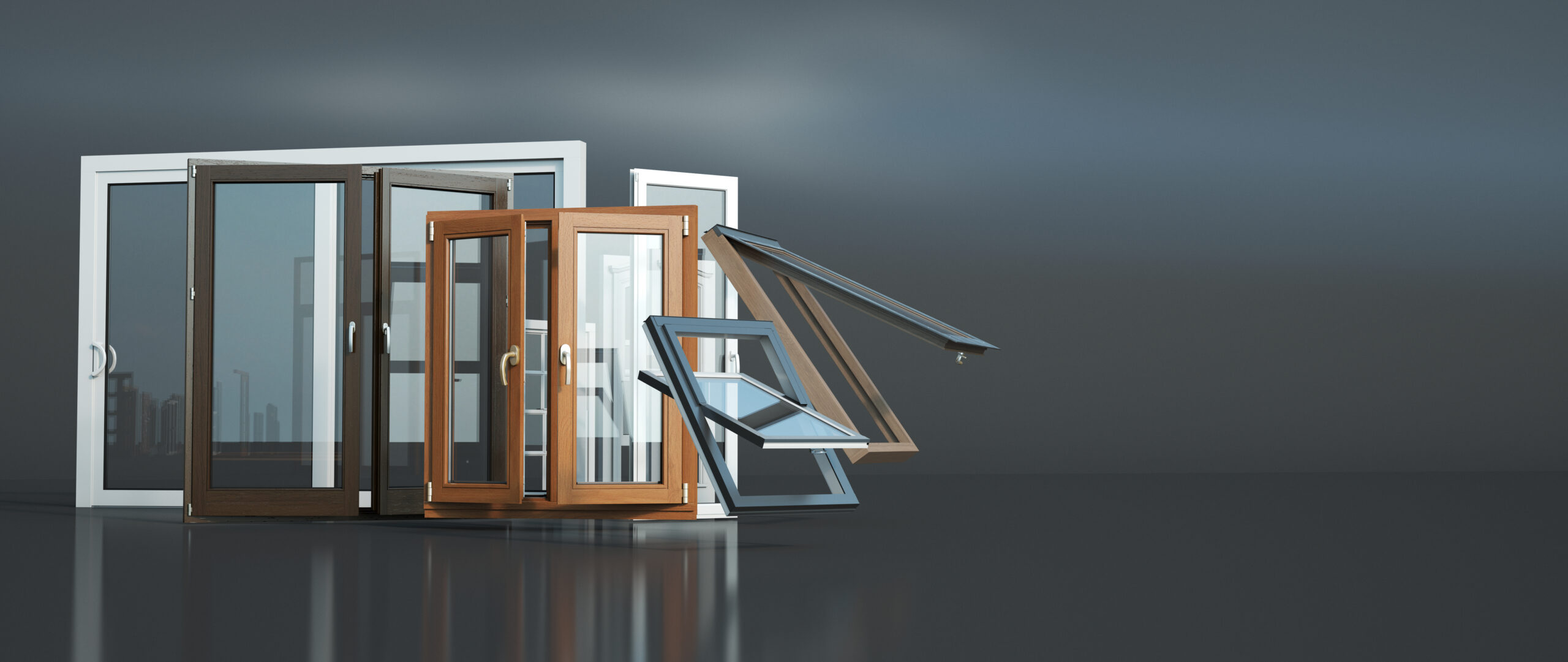 3d,Rendering,Of,A,Selection,Of,Windows,Of,Different,Types